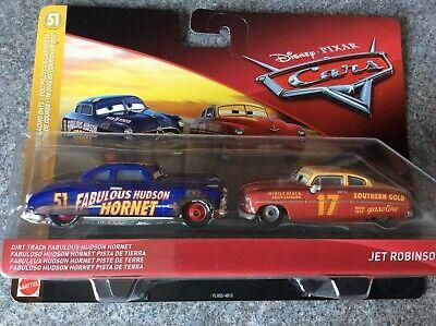 New Disney PIXAR Cars Dirt Track Fab Hudson Hornet and Jet Robinson - Twin Pack