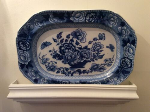 Antique Large Blue and White Transferware Platter