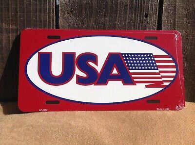 American Flag USA Red Racing Novelty License Plate Bar Wall Decor