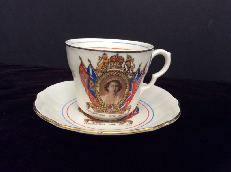 1953 QUEEN ELIZABETH II Cup and Saucer Coronation with gold trim