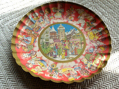 Xmas Christmas Village Vintage MI Germany Cardboard Bowl