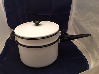 Large Double Boiler - Vintage Enamelware Large Double Boiler White W/ Black Trim Outside Is Nice