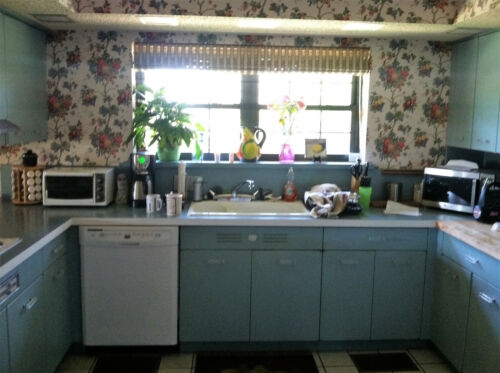 Vintage Geneva Metal Entire Kitchen Set Blue Cabinets includes Tall Cabinets