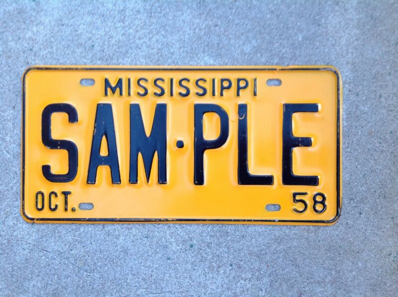 "1958  MISSISSIPPI - ""SAMPLE"" - LICENSE PLATE"