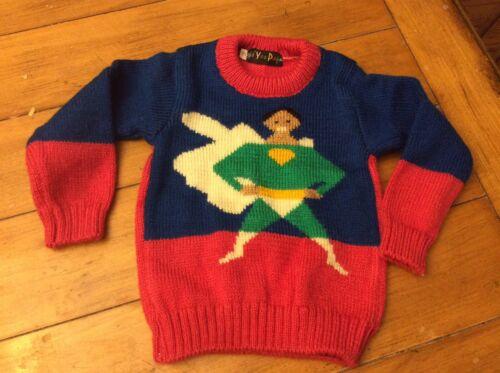 Rare Vintage retro Hand knit Sweater novelty Comic superhero Green Lantern sz 2T