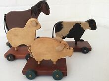 Four wooden animals on Wheels Mosman Mosman Area Preview