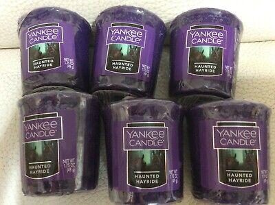 Yankee Candle Six (6) Haunted Hayride Votive Samplers New! Halloween Woody Fall