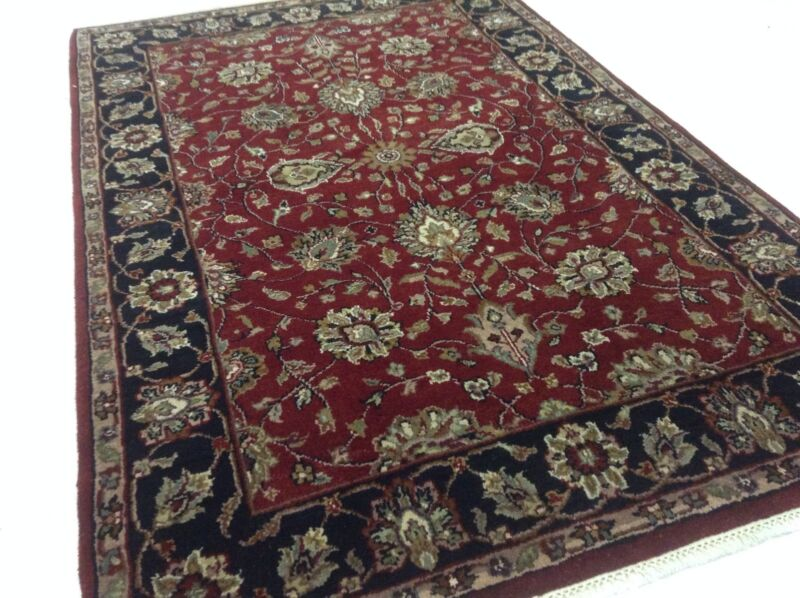 4 X 6 Agra Black Burgundy Persian Oriental Rug New Hand Knotted Foyer Carpet