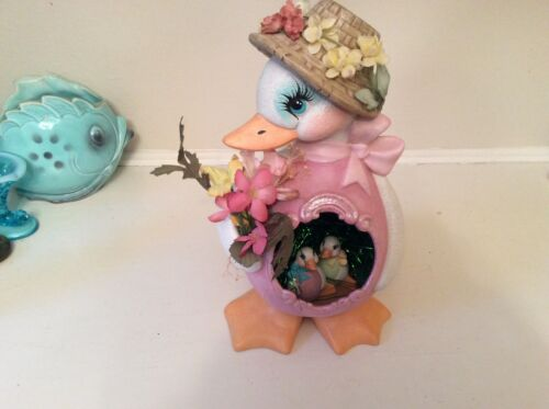 Vintage large ceramic girl duck with diorama in tummy babies decoration