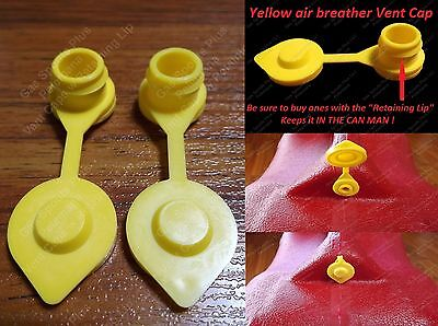 2-pk Yellow Breather Vent Caps Gas Fuel Can Midwest Blitz Wedco Briggs Scepter