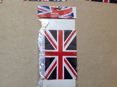 Union Jack 2x12 Ft (3.5m)  Platic Bunting 8 flags per 12 ft length NEW