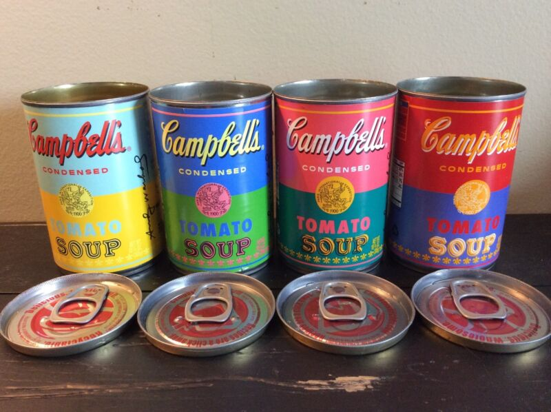 Set of 4 Andy Warhol Tomato Soup Cans 2012 Target Lids Professionally Removed