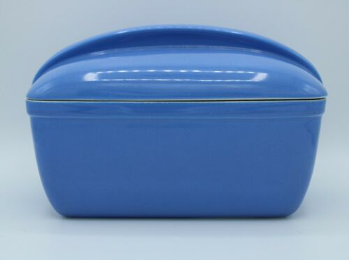 Vtg Hall Westinghouse Covered Blue Loaf Pan Refrigerator Dish Casserole #5074