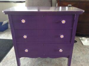 Solid Wood Painted Purple Dresser