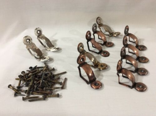 Antique Victorian Brass Stair Rod Holders with bundle of Screws