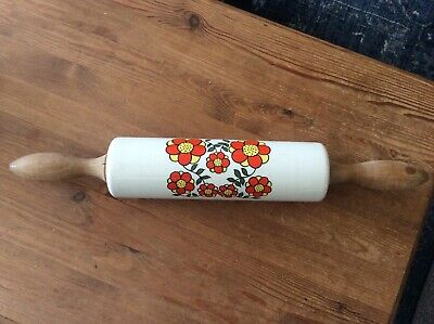 Vintage Retro 1960/70s Taunton Vale Rolling Pin Orange/Yellow Flowers Used Cond