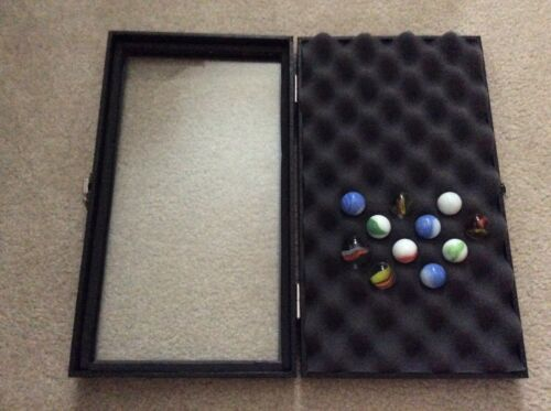 """1- SPECIAL Top Hinged 8-1/4"""" x 14-3/4"""" x 2-1/4"""" Display Case for MARBLES"""