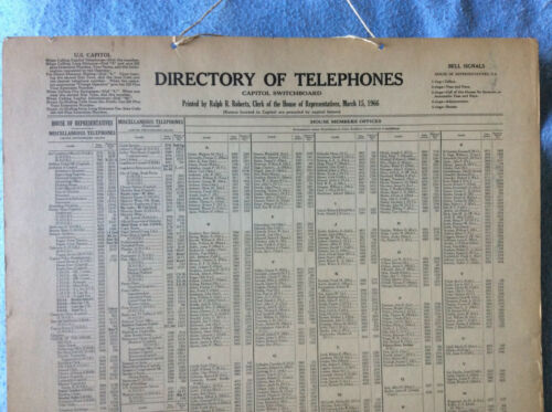 RARE vintage 1966 U. S. Senate & House of Representatives Capitol Switchboard