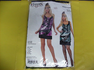 SEQUIN FLAPPER DRESS BLACK GREEN WOMEN HALLOWEEN COSTUME LARGE