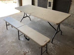 Fold up camping table and bench