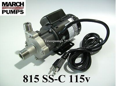 March Beer Pump 815 Ss-c 115v With Base 6 Cord Plug Home Brewing Hf 809