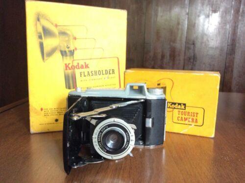 """Vintage KODAK """"tourist camera"""" w/ flash attachment, boxes, instructions"""