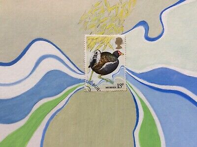 Bird painting, Moorhen Art, British Wading bird, Original Postage Stamp Art,