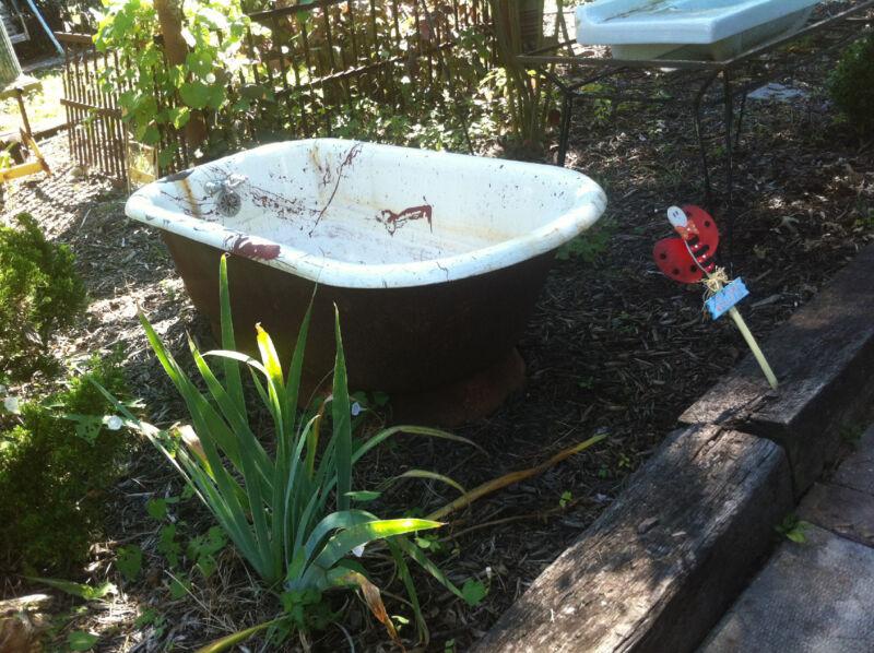 Vintage cast iron enamel tub Architectural Salvage Garden Art Pedestal tub RARE!