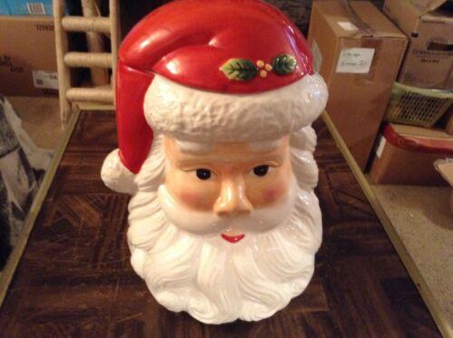 Santa head ceramic cookie jar