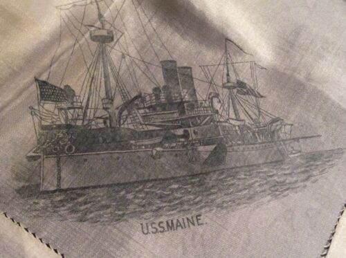 USS Maine Battleship NAVY History Flag Span Ameri War Military SILK Havana USN