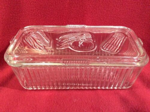 "Federal Glass Refrigerator Dish 4 x 8"" Vegetables Butter Cheese"