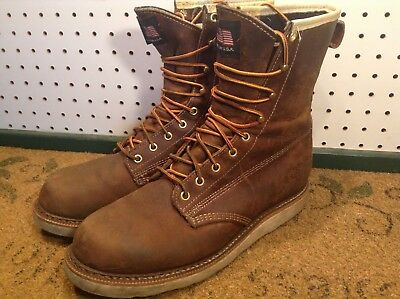 FIELD N FOREST Men Brown Leather Vibram Sole Soft Toe USA Made Boots Size 8.5 D