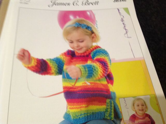 JAMES BRETT PARTY TIME CHUNKY WOOL KNITTING PATTERN JB340 CHILDREN SWEATER TUNIC
