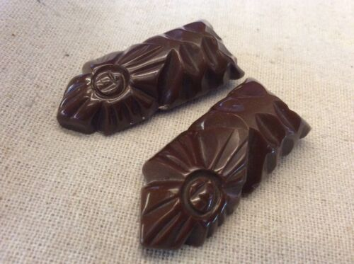 Carved 2PC Brown Bakelite Dress Clips
