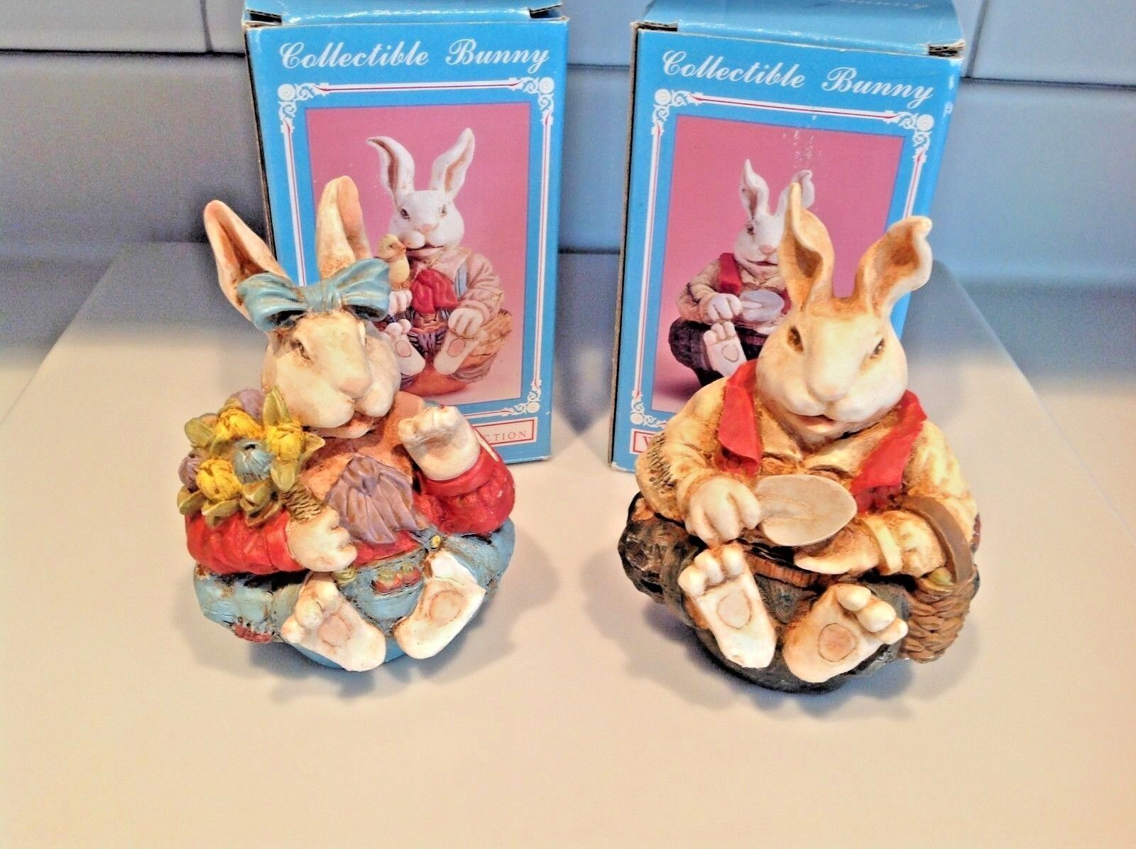 easter decorations set of 2 bunnies windsor collection collectible bunny