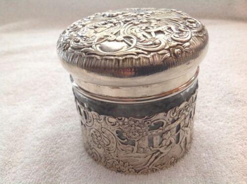 STERLING SILVER GLASS VANITY JAR HALLMARKED