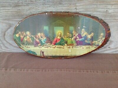 Vintage Last Supper Decoupage on Large Wood Slice Wall Hanging