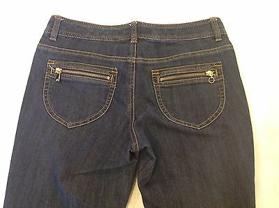 - Michael Kors Sz 4 Dark Blue Denim Bootcut Pants Zip Back Pockets Jeans
