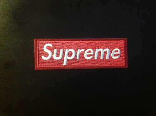"4.5"" SUPREME IRON ON PATCH WINE RED COLOR Embroidered FREE S"