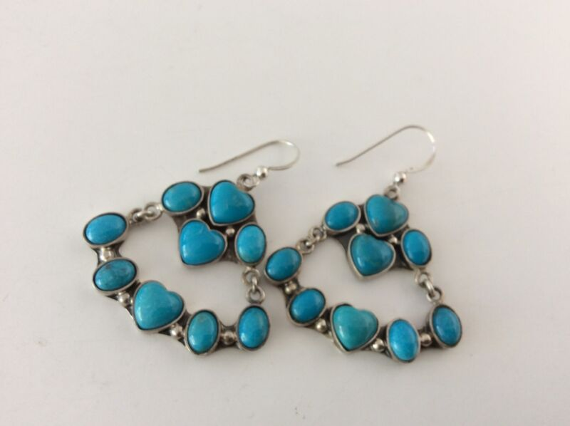 Jay King  DTR Sterling Turquoise Hearts Dangle Earrings