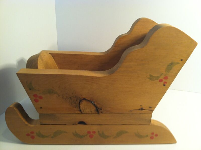 HANDCRAFTED WOOD WOODEN HOLIDAY CHRISTMAS SLEIGH