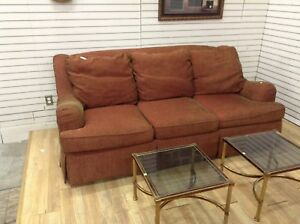 Deep red couch at Waterloo restore