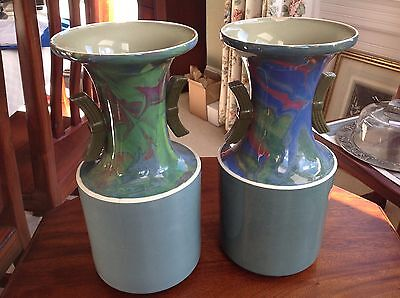 A PAIR OF STYLISH W D CLIFF (J. DIMMOCK & CO) ART DECO VASES  33CM HIGH   (343)