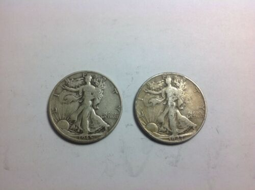 (2) Walking Liberty US Half Dollar 90% Silver Coins $1 Face Value