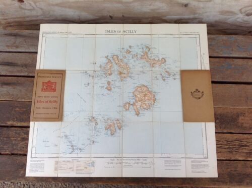 Vintage Ordnance Survey Isles of Scilly Fold Out Map