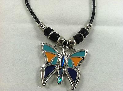 Butterfly Paua Shell - Beautiful Abalone Paua Shell Butterfly Pendant Tribal design Necklace