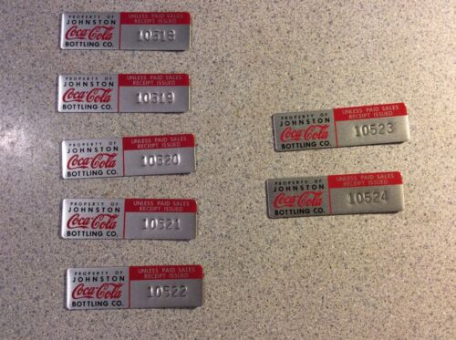 Coca-Cola Collectible Equipment Asset Tags- Set Of 7