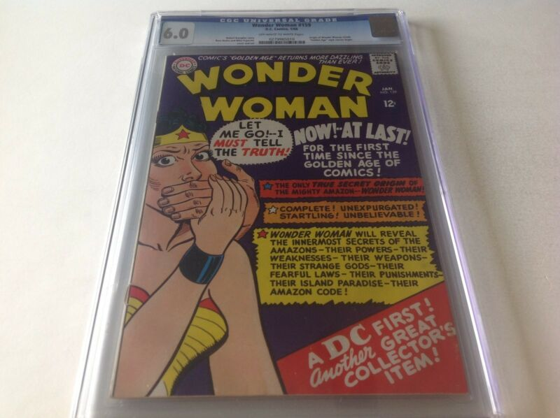 WONDER WOMAN 159 CGC 6.0 ORIGIN OF WW GOLDEN AGE STYLE STORIES BEGIN DC COMICS