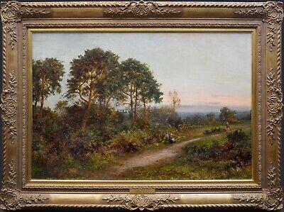 Fine Large Original Antique 19th Century Landscape Oil Painting of Kent Woodland