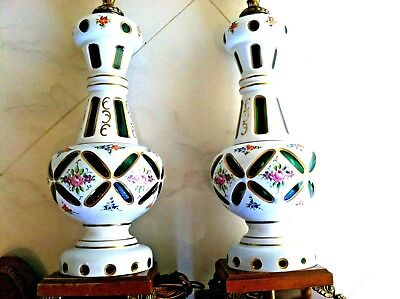 GORGEOUS ANTIQUE 2 BOHEMIAN ART GLASS LAMPS HAND PAINTED ENGRAVING W/ GOLD